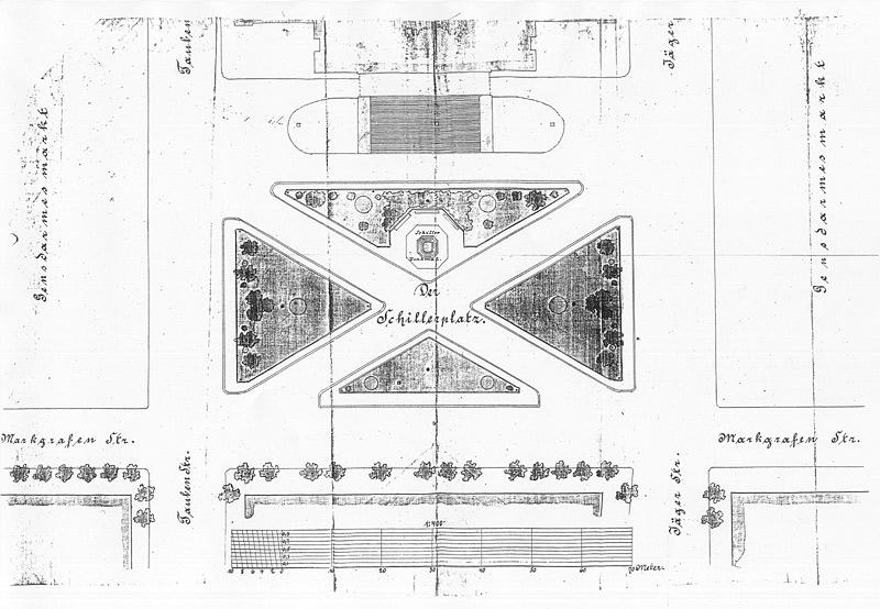 Plan Für Die Ausgestaltung Der Fläche Vor Dem Schauspielhaus, Um 1872;  Quelle: Landesarchiv