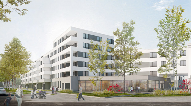 Visualization of a HOWOGE-project with around 400 flats located at Treskowallee in the city district Lichtenberg (Ligne architects / CN architects); Visualization: Architects Ligne/Neumann/Abbonacci